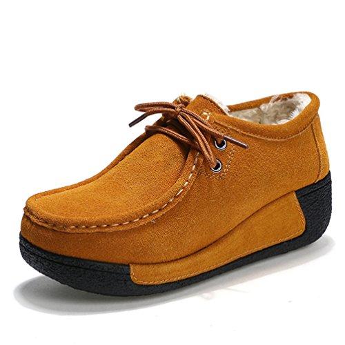 Hausse Neige Boots a Chaude dHiver de Femme en Brun Courtes JRenok Bottes Chaussures Creepers Fourrure Talon tqnO1wW5n