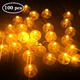 Yuccer 100pz LED Palloncini Luci, Luminosi Mini Luci Lanterne Illuminazione a LED Balloon Lights per Lanterna di Natale Floreali Torta Decorazione per Festa di Compleanno di Nozze (Bianco Caldo)