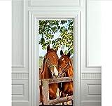 PANDABOOM 77X200 cm Pferde Stall Scheune Bild Wandbild Tür Aufkleber Tapete Aufkleber Dekoration Schlafzimmer Kinderzimmer