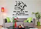 Wandtattoo -Mein Hund ist als Hund eine Katastrophe, aber als Mensch unersetzlich. - Spruch - Hund - Johannes Rau - Zitat (M070 Schwarz, 480 mm x 450 mm)