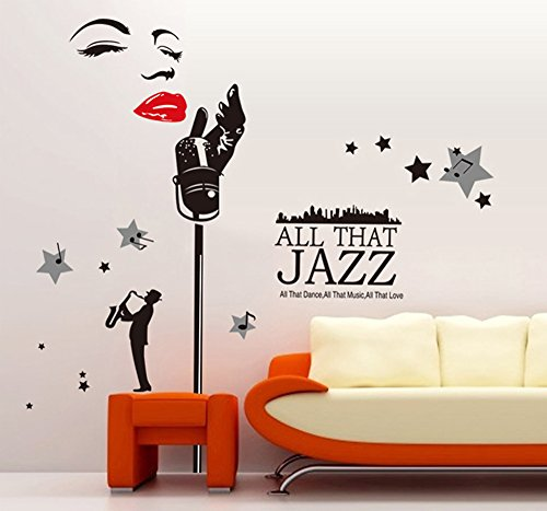 ufengke® Jazza Campana di Musica di Moda Adesivi Murali, Camera da ...