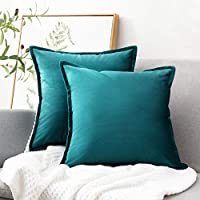 Bedsure Velvet Cushion Cover Teal Decorative Pillowcases 2 Pack for Sofa and Couch, 45cm x 45cm (18in x 18in)