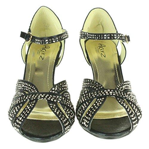 Frau Damen Fesselriemen High Heel Abendliche Feier Braut Hochzeit Prom Sandals Schuhe Größe Schwarz