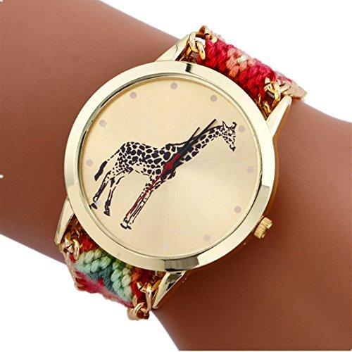 Mixe® - Reloj de pulsera tejido a mano, para mujer, estilo bohemio con diseño de elefante tribal, tejido envolvente, decorativa, para boda, amistad, con funda de tela negra de regalo