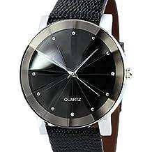 FEITONG acciaio inossidabile di sport militare di lusso al quarzo quadrante orologio cinturino in pelle (Nero)