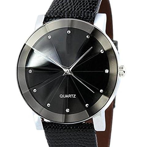 Herren-Armbanduhr, ourmall Herren Luxus Quarz-Sport Edelstahl Zifferblatt Leder Band Armbanduhr
