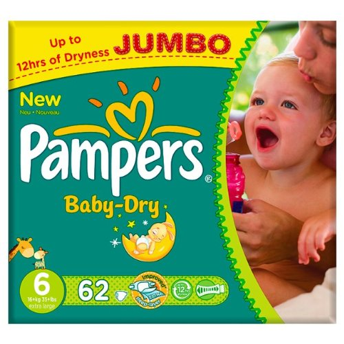 Pampers Baby Dry Größe 6 (16 + kg) Jumbo Pack 62 pro Packung -