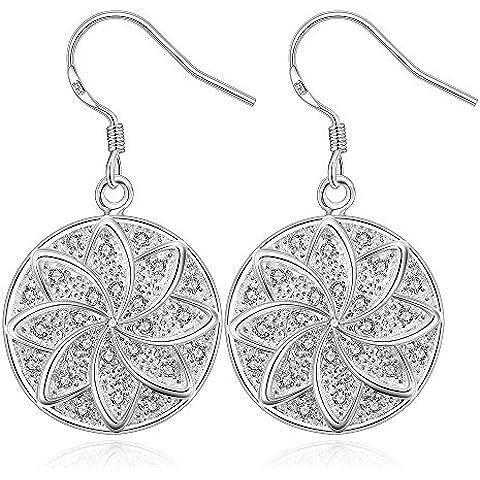NYKKOLA New Fashion Jewelry-Ciondolo a fiore placcati in argento Sterling 925 e orecchini con pendente rotondo