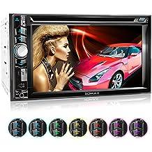 XOMAX XM-2D6224 autoradio con 15,7 cm (6,2 pulgadas) LCD pantalla táctil + Bluetooth dispositivo manos libres y función de reproducción + código libre DVD / CD reproductor + Ranura de extensión por Micro SD – tarjetas y USB conexión + Audio y Vídeo entretenimiento: MP3 WMA MPEG4 AVI + RGB Multi colores de iluminación ajustable: azul, rojo y mucho más + conexión por retrovisor y por subwoofer + Double / doble DIN (DIN 2) medida estándar para el montaje + incluido mando a distancia