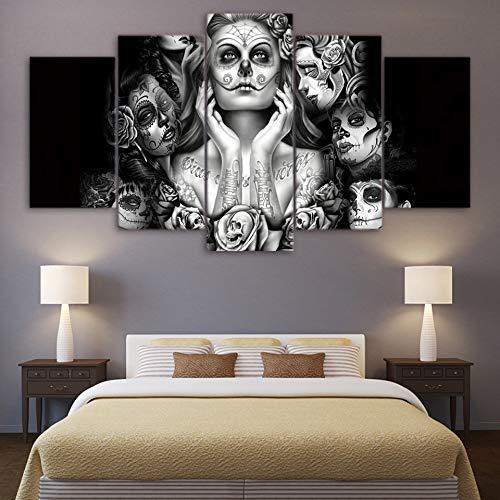 mbxztm 5 Stücke HD Gedruckt Wandkunst Poster Schlafzimmer Rahmen Leinwand Schädel Bilder Tag Der Toten Gesicht Malerei Wohnkultur Wohnzimmer (Tag Der Toten Poster)