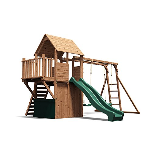 Dunster House Wooden Playhouse Climbing Frame Childrens Outdoor Play Tower  Monkey Bar Swing Set Club House BalconyFortTM Searcher