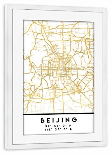 artboxONE Poster mit Rahmen weiß 45x30 cm Beijing China Street MAP Art von Emiliano Deificus - gerahmtes Poster