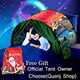 Quanj Kids Dream Dinosaur Tent Foldable Bed Tent Boys Girls Pop up Play Tent Kids Magical Playhouse Bedroom Decoration Birthday Christmas Gifts
