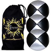 3x Balles de Jonglage En Cuir Super Durable (Leather) Beanbag Jonglage Balles + Sac de transport. (Noir/Argent)