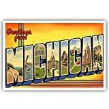 Postcard Fair GREETINGS FROM MICHIGAN vintage reprint set of 20 identical postcards. Large