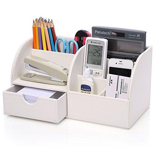 KINGFOM Büro Schreibtisch Organizer Ordnungssystem Tisch Organizer PU Leder Stiftehalter Stiftebox Stifteköcher Multifunktionale Bürobedarf -