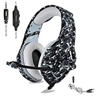 Lecc Gaming Headset, 3.5mm Camouflage Over-ear Stereo Headphones with Mic,Noise Reduction,Volume Control, Foldable for Xbox One,PS4,CF,Laptop,Smartphone,C