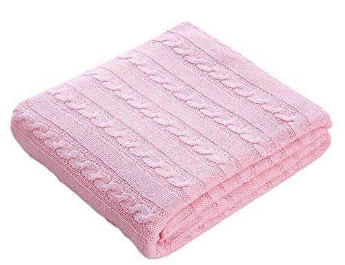 Lutanky Manta de Tiro 100% algodón Tejido de Punto Súper Soft Throw Couch Covers Mantas para Sofá Cama (120x180cm) (Rosa)
