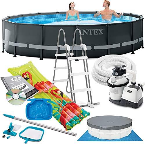 Intex Ultra Frame Swimming Pool 488x122 cm Schwimmbecken Stahlrahmen 26326 Komplett-Set mit Extra-Zubehör wie: Reinigungsset, Luftmatratze und Fußbad