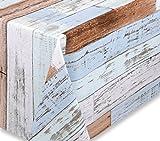 Wachstuchtischdecke OVAL RUND ECKIG Motiv u. Größe wählbar, Tischdecke Wachstuch abwischbar (Alte Holzdielen Rund 140 cm)