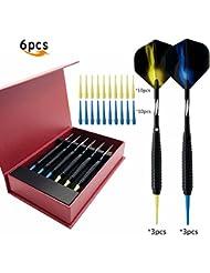 Paquete de 6dardos de punta blanda 16gramos profesional electrónico Dardos Juego de dardos de punta suave con caja de regalo, 18g
