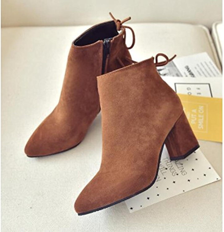 ZHZNVX HSXZ Zapatos de Mujer Otoño Invierno PU Confort Botas Chunky Talón Cerrado Toe Botines/Botines para Ocasionales...