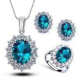 Doyeemei Women Princess Sapphire Pendant Necklace Earrings Ring Set (Sea Blue)
