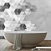 DIY Adhesive Tile Stickers, Indexp 1 Set 10 Packs Hexagon Stitching Kitchen Bathroom Art Floor Wall Decal (Style D, 11.5x20x23cm)