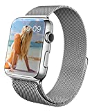 Apple Watch Strap, GEOTEL® 42mm Milanese Loop Stainless Steel Bracelet Strap Band for Apple Watch Series 1 Series 2 Sport&Edition with Unique Magnet Lock(No Buckle Needed) (Silver-42MM)
