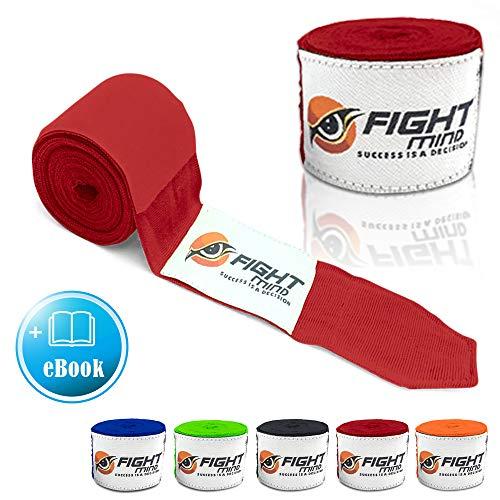 Fight Mind Profi Boxbandagen | 4,5 m Halb-Elastische Bandagen mit Daumenschlaufe und Extra Breitem Klettverschluss | + Exklusiver Ratgeber -