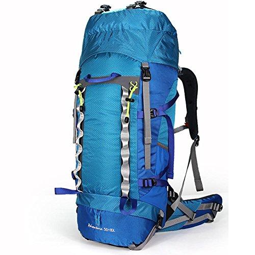 ROBAG Outdoor 50 + 10L Uomini e donne di viaggio doppio spallamento di rinforzo impermeabile camminando campeggio grande capacità sport borsa da montagna , orange blue
