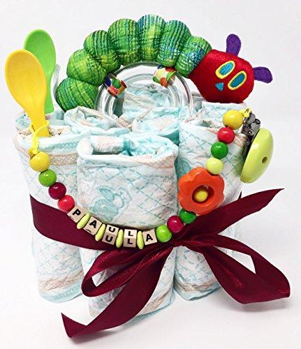 Elfenstall Windeltorte/Pamperstorte Raupe Nimmersatt-Rassel und Schnullertkette mit 2 Beikostlöffel als tolles Geschenk/Geschenkset zur Geburt oder Taufe auf Wunsch mit Name des Babys