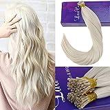 LaaVoo 16 Pouce Populaire Couleur Pure Lightest Blonde Pre Bonded I Tip Cheveux Extensions de Cheveux Humains Reels et Droits 50 Strands 1g/Strand(#60)