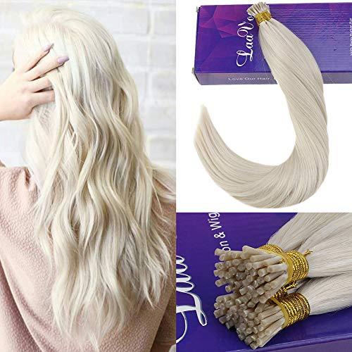 Laavoo 20pollice/50cm i tip hair extensions human hair cheratina capelli veri umani 100% naturale bionda platino #60 50g/50s