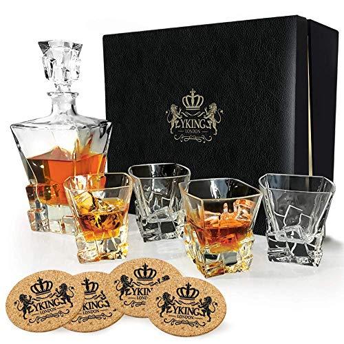 Karaffe Set 9 Stücke in Premium Geschenk-Box aus YKing London - Whisky Bourbon Scotch Tequila Rum Wodka Karaffe Set - Whisky Karaffe und Glas Set
