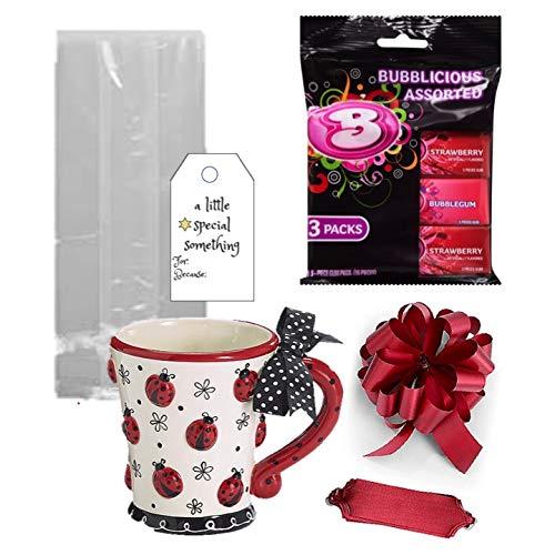 Kaffeetasse, Geschenke, Erdbeer-Gummi, gefüllt, mit Geschenk, 284 ml, Lady Bug Keramiktasse Erdbeere Gum Cellophan Beutel mit Schleifenanhänger
