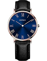 Kopeck azul Dial Rose Dorado Acero inoxidable diseño de números romanos horas Marcado Reloj para mujer