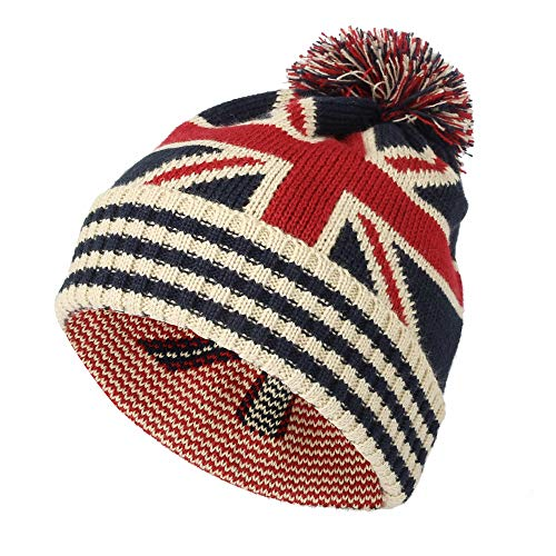 WITHMOONS Knit US Canada Flag Union Jack Pom Beanie Hat JZP0027 (White) f7bfe5c5ee31