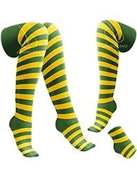 Nuevas para mujer diseño de impresión de pinceles de fibra Horizontal más de rodillera el muslo diseño de alta Overknee bases mujer de calcetines de rayas (color/Amarillo)