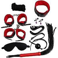 8 Unids Bondage Set Kit Collar Whip Ball Gag Cuffs Cuerda de Restricción de Juguete para Adultos