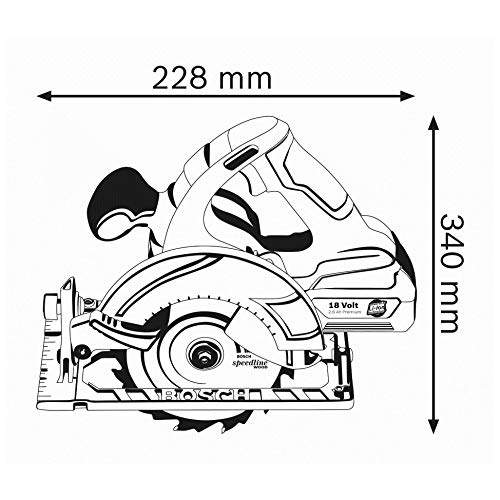 Bosch Professional GKS 18 V-LI Akku-Kreissäge, Schnitttiefe 90/45 Grad, 51/40 mm, stufenlose Schnitttiefeneinstellung in L-Boxx ohne Akku und Ladegerät, 1 Stück, 060166H006 - 3