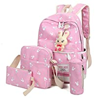 School Bags, SHOBDW 4 Sets Girls Cute Rabbit Animals Travel Backpack Shoulder Handbag