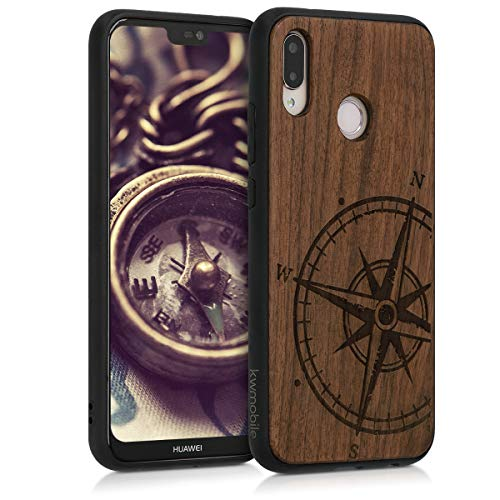 kwmobile Holz Schutzhülle für Huawei P20 Lite - Hardcase Hülle mit TPU Bumper Walnussholz in Kompass Vintage Design Dunkelbraun - Handy Case Cover