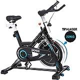ANCHEER Indoor Cycling Bike Heimtrainer Hometrainer Fahrrad - 22KG Silent Belt Drive Verchromtes mit Halterung, Verstellbarem Sitzkissen, Lenker und Basis, bis 150KG