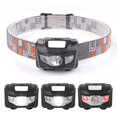 sunix® LED Stirnlampe mit Rotlicht -Wasserdicht, leicht und bequem, Perfekt fürs Camping Joggen Campinglampe Aussenleuchte - 4 Licht-Modi, 3 x AAA Batterie (nicht enthalten)