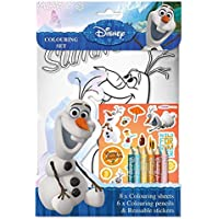 Disney Frozen Olaf Colouring Set incl 8x colouring sheets, 6x Pencils and reusable stickers