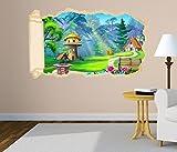 3D Wandtattoo Märchen Haus Wald Kinderzimmer Tapete Wand Aufkleber Wanddurchbruch Deko Wandbild Wandsticker 11N1261, Wandbild Größe F:ca. 140cmx82cm