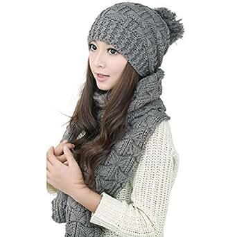 LEORX Donna inverno maglia addensare Hat berretto e sciarpa Set (grigio)