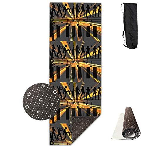 Bag shrot Yoga Mat Non Slip Music Notation 24 X 71 Inches Premium Fitness Exercise Pilates Carrying Strap - Pro-lite Cap