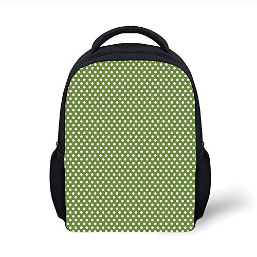Plain Olive (Kids School Backpack Green,White Polka Dots on Green Backdrop Classic Simplistic Pattern Design Print Decorative,Olive Green and White Plain Bookbag Travel Daypack)